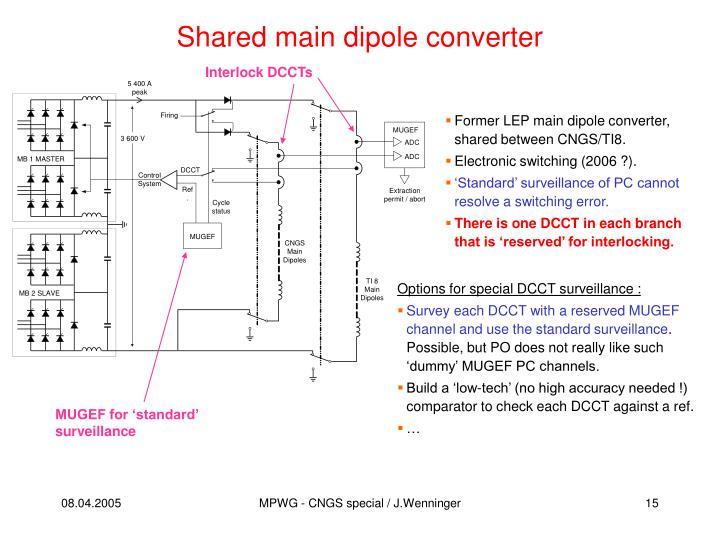 Shared main dipole converter