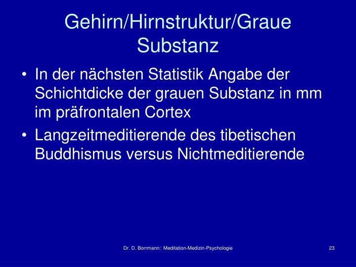 Gehirn/Hirnstruktur/Graue Substanz