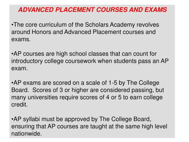 ADVANCED PLACEMENT COURSES AND EXAMS