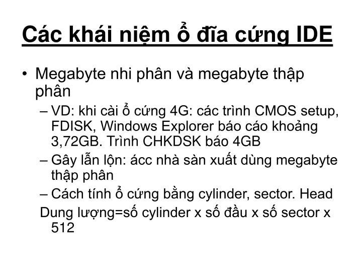 Các khái niệm ổ đĩa cứng IDE