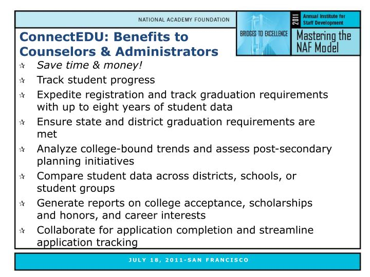 ConnectEDU: Benefits to Counselors & Administrators