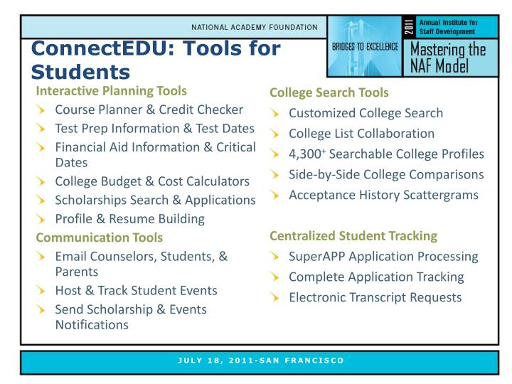ConnectEDU: Tools for Students