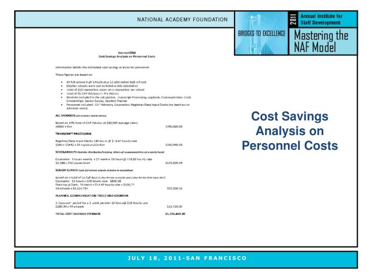 Cost Savings Analysis on Personnel Costs