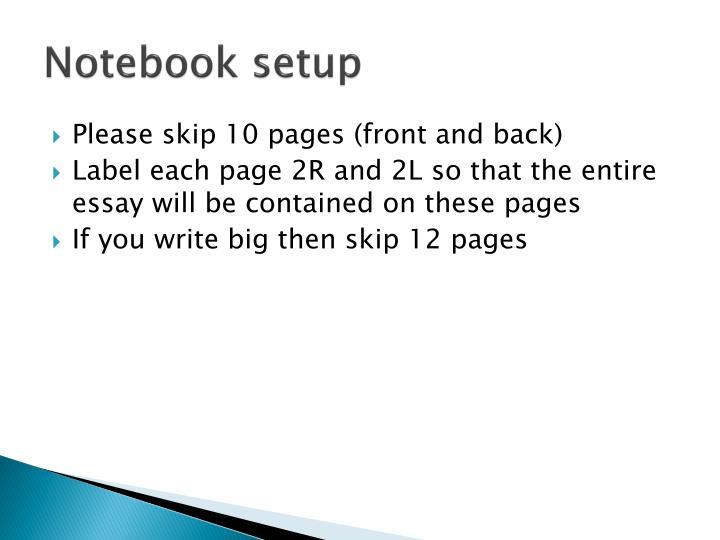 Notebook setup