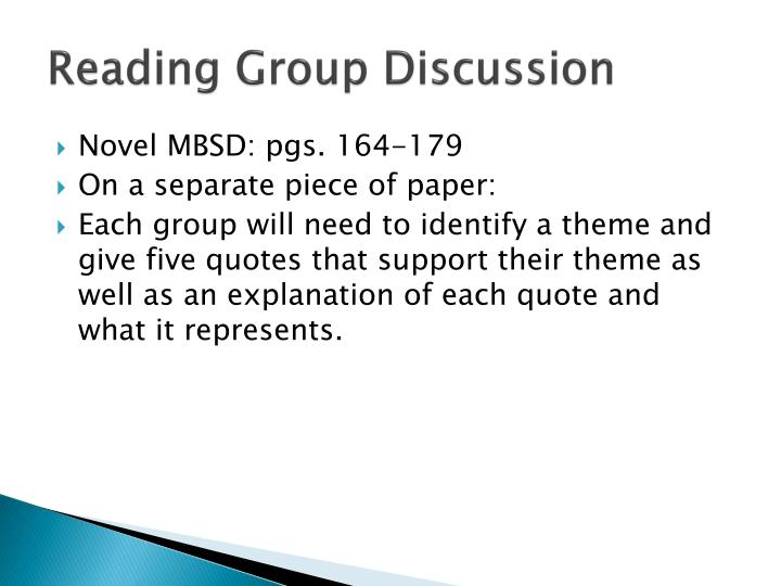 Reading Group Discussion