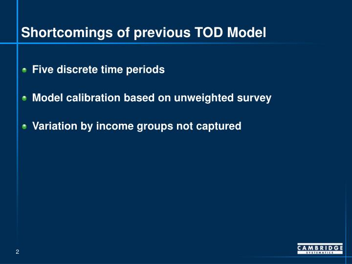 Shortcomings of previous tod model