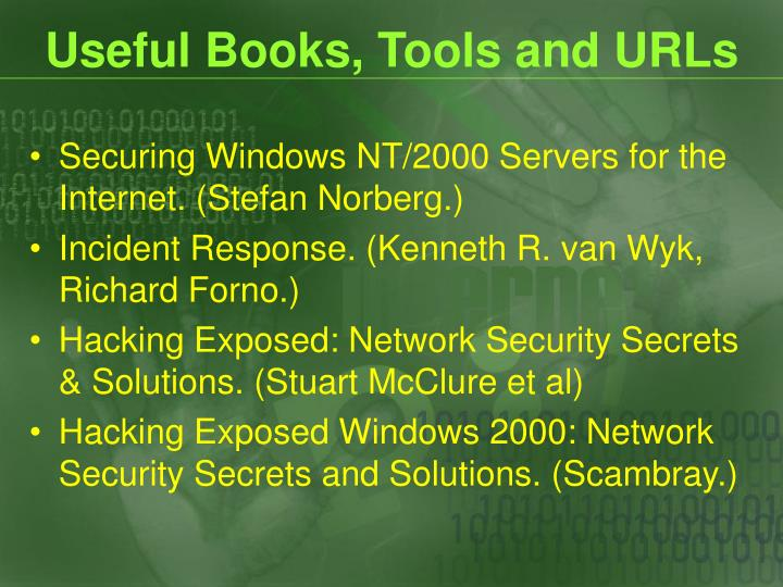 Useful Books, Tools and URLs