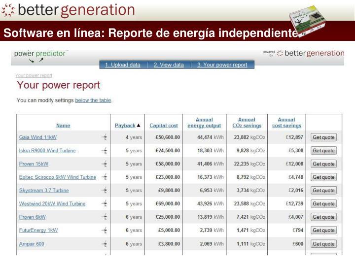 Software en línea: Reporte de energía independiente