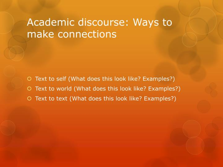 Academic discourse: Ways to make connections