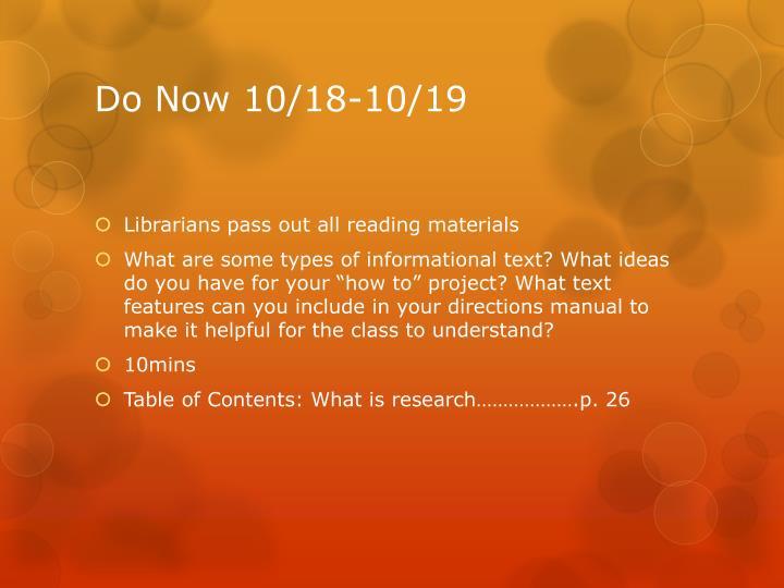 Do Now 10/18-10/19