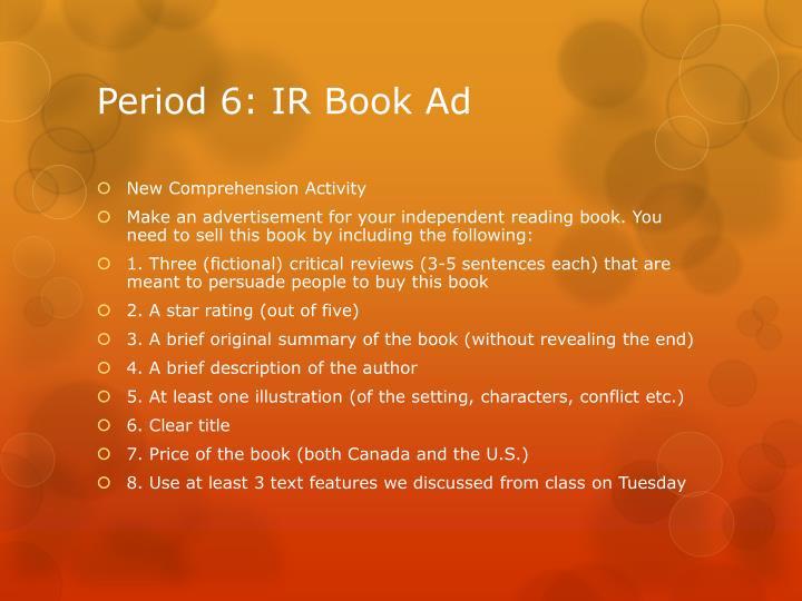Period 6: IR Book Ad