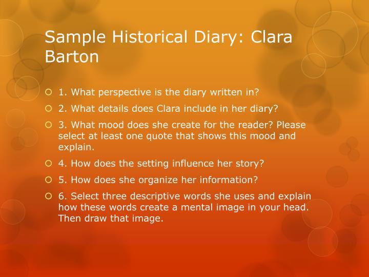 Sample Historical Diary: Clara Barton