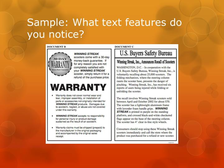 Sample: What text features do you notice?