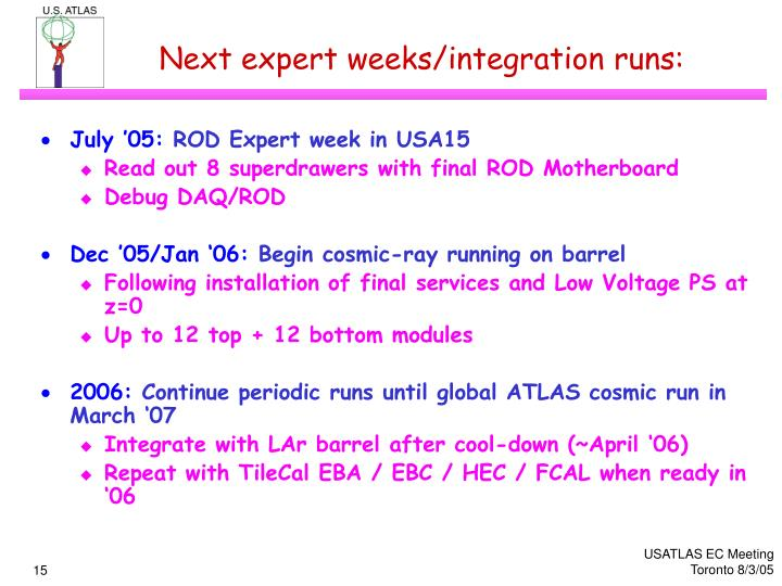 Next expert weeks/integration runs: