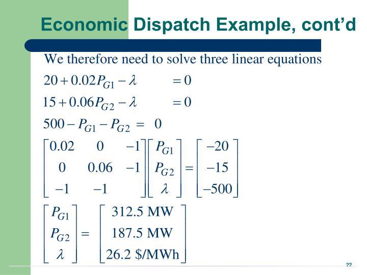 Economic Dispatch Example, cont'd