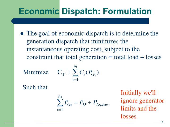 Economic Dispatch: Formulation
