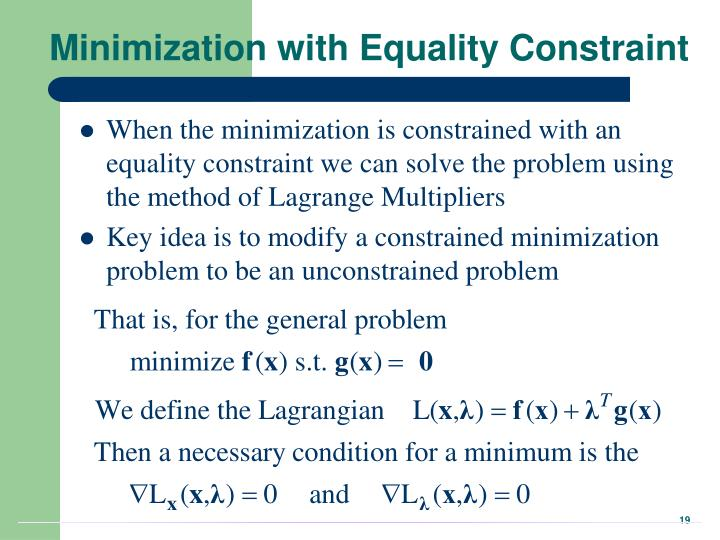 Minimization with Equality Constraint