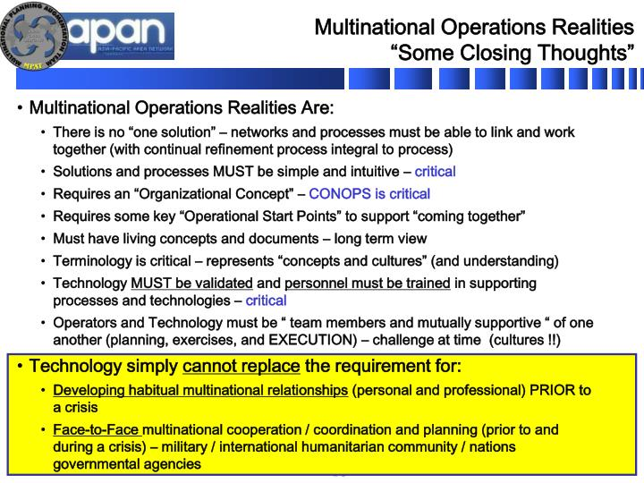 Multinational Operations Realities