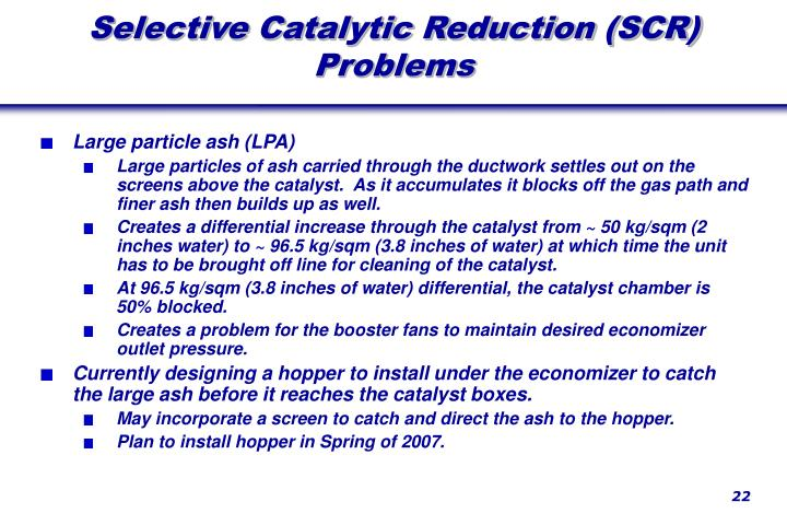 Selective Catalytic Reduction (SCR) Problems