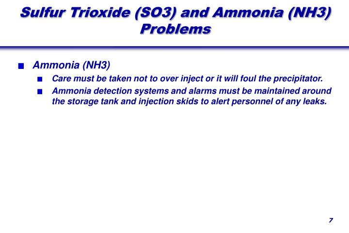 Sulfur Trioxide (SO3) and Ammonia (NH3) Problems