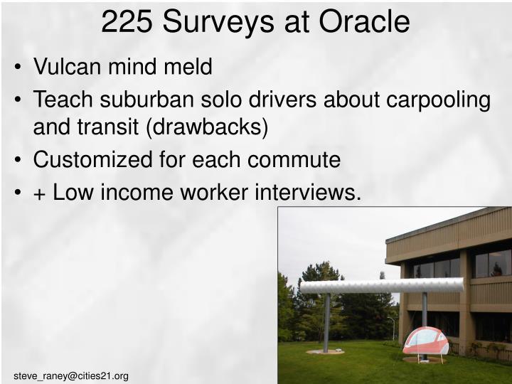 225 Surveys at Oracle