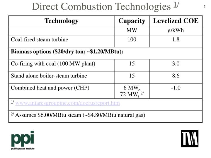 Direct combustion technologies 1