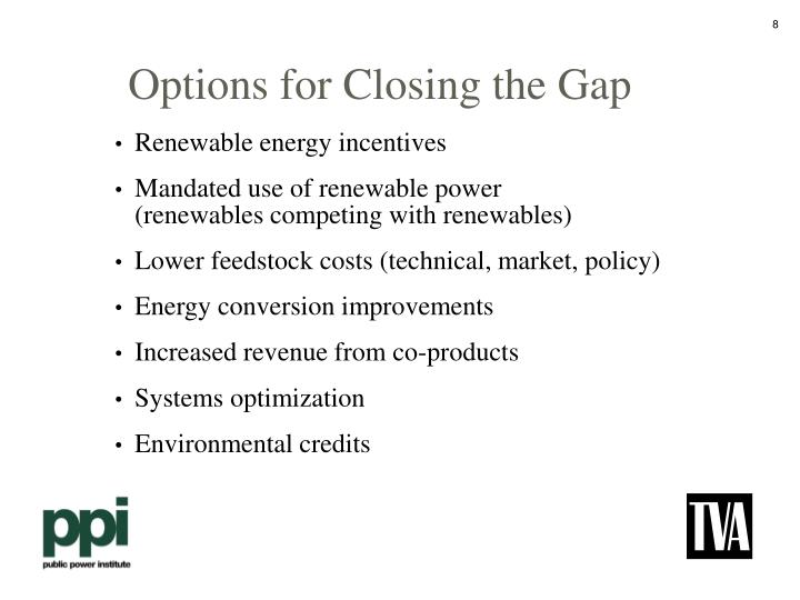 Options for Closing the Gap