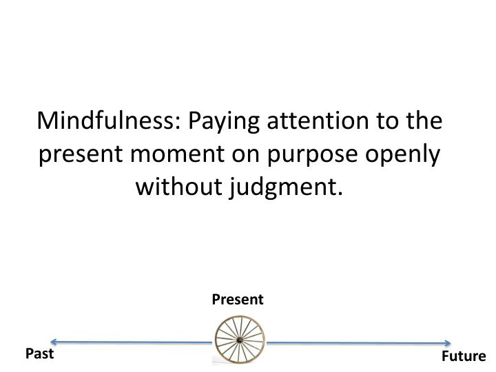 Mindfulness: Paying attention to the present moment on purpose openly without judgment.