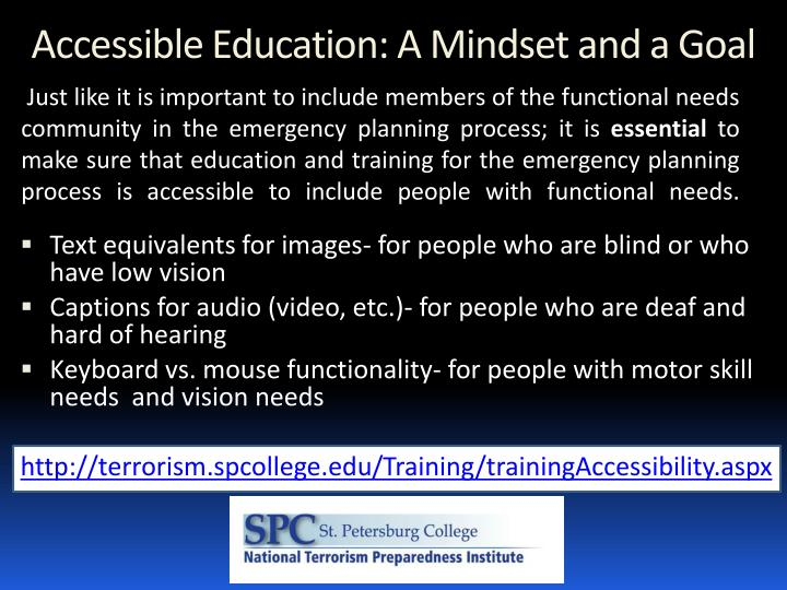 Accessible Education: A Mindset and a Goal
