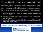 accessible education a mindset and a goal