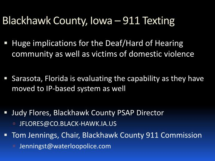 Blackhawk County, Iowa – 911 Texting