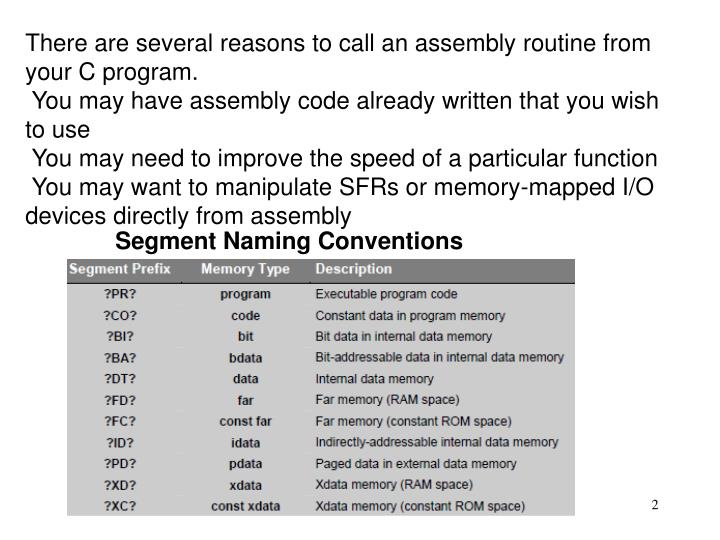 There are several reasons to call an assembly routine from your C program.