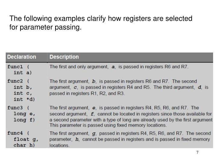 The following examples clarify how registers are selected