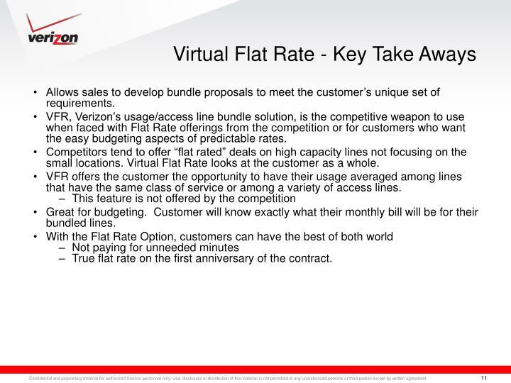 Virtual Flat Rate - Key Take Aways
