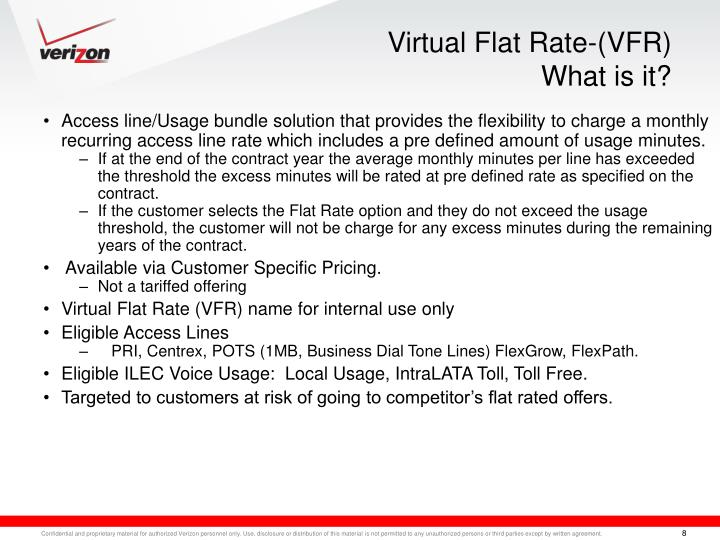Virtual Flat Rate-(VFR)