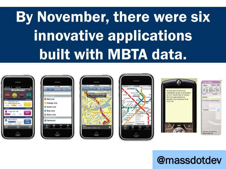 BY NOVEMBER, THERE WERE SIX INNOVATIVE APPLICATIONS BUILT