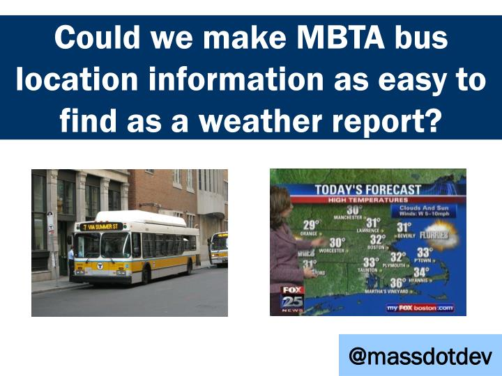 Could we make MBTA bus location information as easy to find as a weather report?
