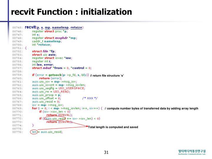 recvit Function : initialization