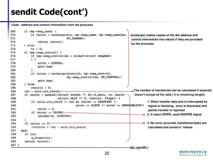 sendit Code(cont')