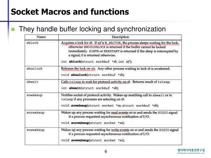 Socket Macros and functions