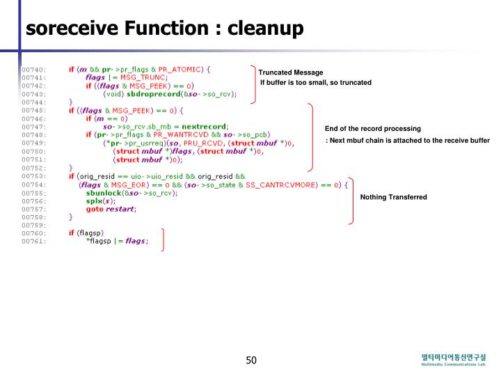 soreceive Function : cleanup