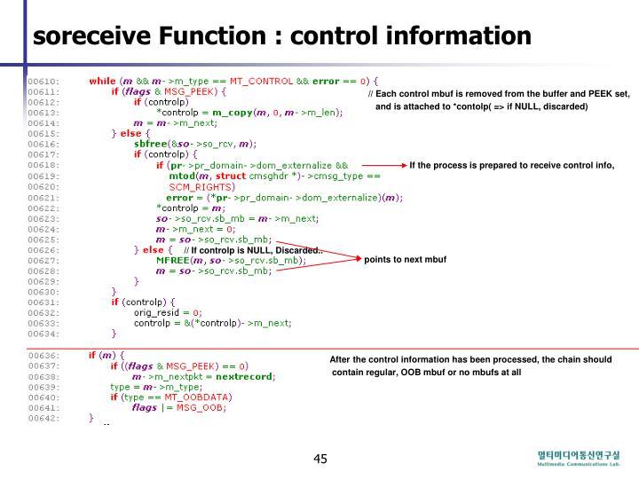 soreceive Function : control information