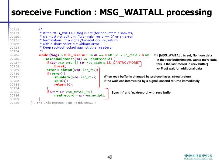 soreceive Function : MSG_WAITALL processing