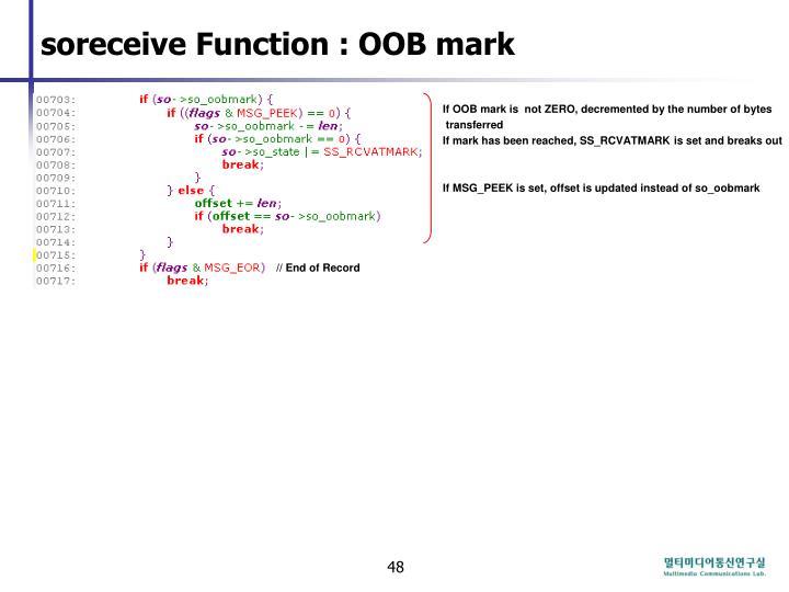 soreceive Function : OOB mark