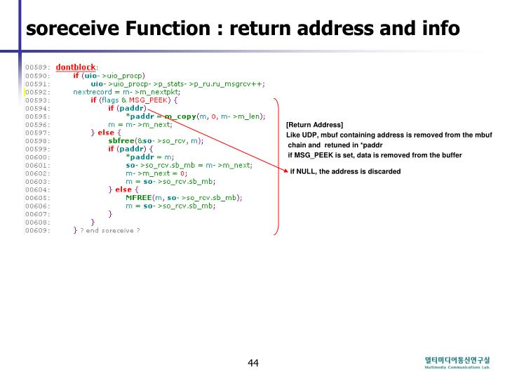 soreceive Function : return address and info
