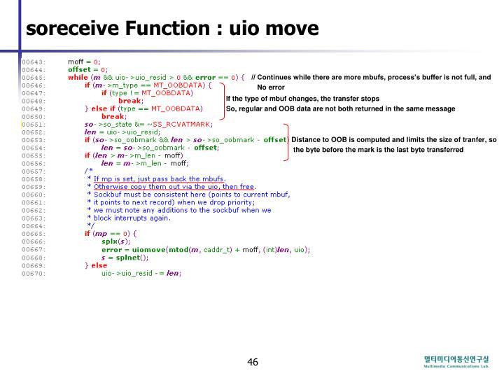 soreceive Function : uio move