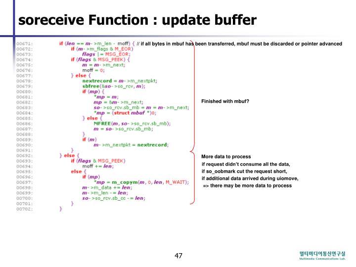 soreceive Function : update buffer