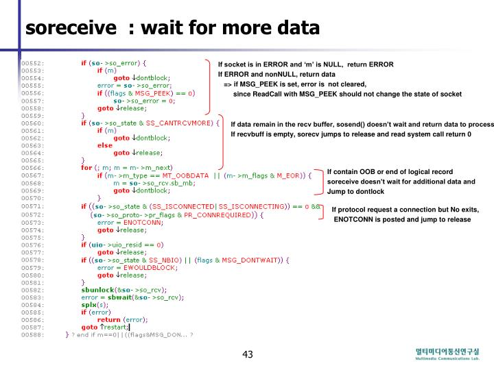 soreceive  : wait for more data
