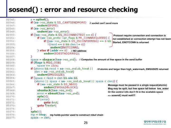 sosend() : error and resource checking