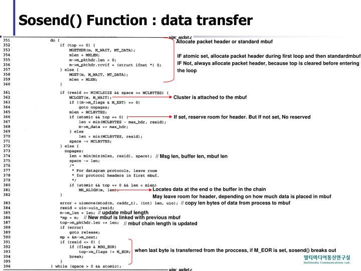 Sosend() Function : data transfer